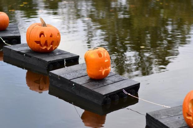 Pumpkins adorn the Mill Mond during the test run.